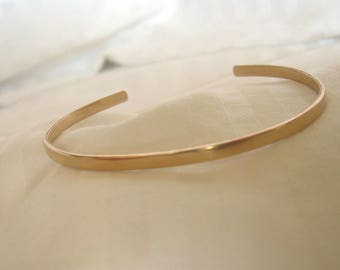 14K Gold Filled Cuff Bracelet Skinny Handmade Stacking Bangle 1/8 Inch 3+mm 14Kt GF
