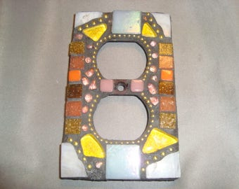 MOSAIC Electrical Outlet COVER , Wall Plate, Wall Art, Yellow, Off White, Gold, Orange, Brown, Glitteryr