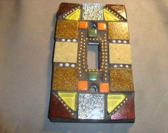MOSAIC Light Switch Plate -  Single Switch, Wall Platae, Home Decor, Brown, Tan, Beige, Silver Yellow, Orange, Gold