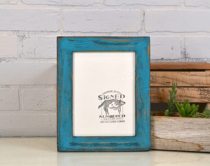 """6x8 inch Picture Frame in 1.5"""" Reclaimed Cedar with Super Vintage Turquoise Finish - IN STOCK - Same Day Shipping 6 x 8 Frame Upcycled Wood"""