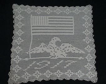 Antique Vintage WWI Crochet Table Cover Wall Hanging