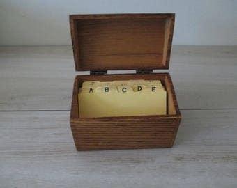 Vintage Wooden Recipe Trinket File Box