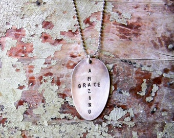 "Spoon Necklace, Stamped Spoon Necklace ""Amazing Grace"" Spoon Jewelry Necklace Inspirational Quote, Religious Quote Necklace, Cross Necklace"