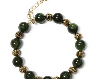 Jewelry On Sale Green Jade Bracelet -  6 to 8 Inch wrist size - genuine BC Jade - memory wire bracelet with gold pewter beads - extender cha