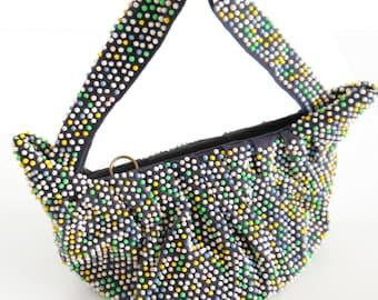 Vintage Lumured Beaded Handbag • Mid Century Ladies Colorful Beaded Purse