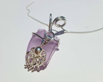 Lavender Sea Glass Necklace handmade with sterling Octopus with aluminum bale