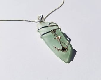 Pale aqua green Sea Glass Necklace handmade with sterling Anchor with aluminum bale