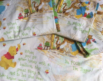 Vintage 1970s Childrens Bedding / Sears Walt Disney Winnie the Pooh Full Sheet Set Fitted Flat Sheet Two Pillowcases