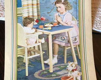 Vintage print little girl and her baby doll, shabby, chic, babies room,