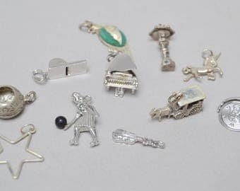 11 Vintage Sterling Silver Charms . Parrot . Piano . Horse . More .  Charm Pendant