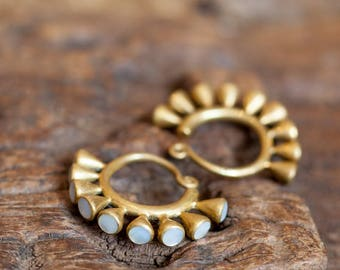 Tribal Brass and Mother of Pearl Ear Weights, Tribal Jewellery, Ethnic Jewellery, Ear Weight, Heavy Earrings, Ear Weights , Gauge Jewelry