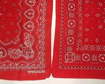 2 Vintage Red All Cotton Bandannas • Fast Color bandana
