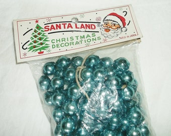 Vintage SANTA LAND Blue Mercury Glass Bead Christmas Garland • new in package • 8 feet