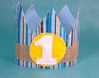 Shabby Chic burlap birthday crown, blue, yellow boy crown, G197, boy first birthday photo prop