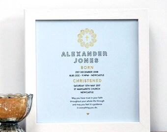 Personalized Framed Christening Baptism Gift with Gold, gift for baptism, gift for christening, nursery decor, baptizm gift