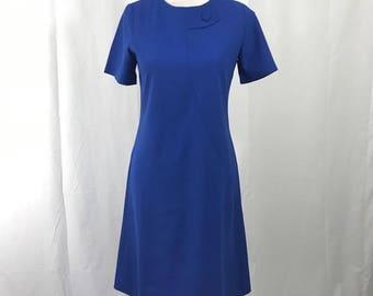 Vintage Mod 1960s Electric Blue Scooter Dress L