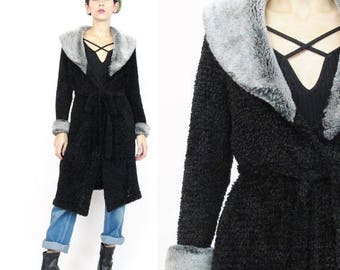 25% off Summer SALE 90s Long Cardigan Faux Fur Collar Wrap Cardigan Vintage Black Sweater Coat Soft Chenille Sweater Goth Grunge Fuzzy Belte