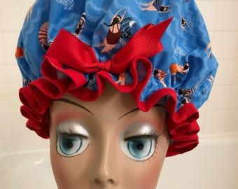 "Shower Cap Women's Waterproof Machine Washable ""Dive On In!"""