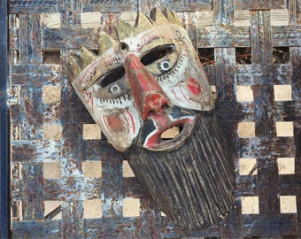 Carved Wood Mask Wall Hanging, Mexican Folk Art Dance Mask, Mexican Mask Moors & Christians