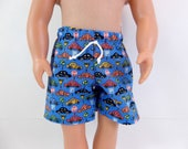 "Swimsuit or Shorts for 18"" Boy Doll Blue Cars Fits American Girl Doll"