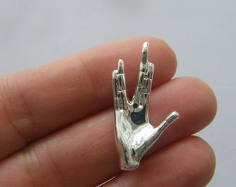 4 Hand gesture Vulcan salute charms silver plated tone FM23