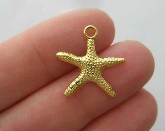 BULK 50 Starfish charms bright gold tone GC239