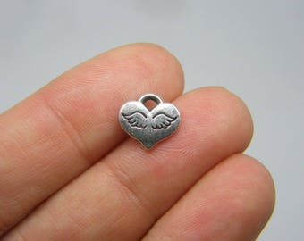 14 Angel wing heart charms antique silver tone AW109