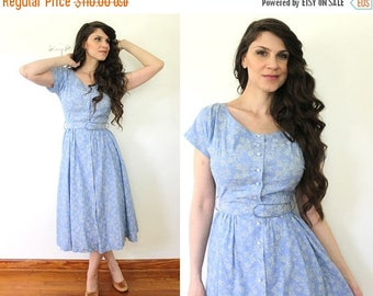 ON SALE 1950s Dress / 50s Light Blue Floral Cotton Dress