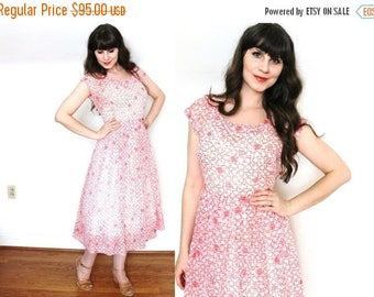 ON SALE 50s Dress / 1950s Geometric Print Pink Sheer Nylon Dress