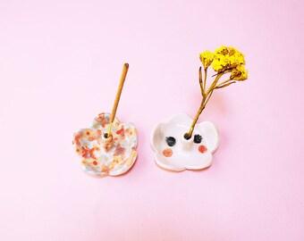 Kawai Flower Incense Holder Ceramic, Flower Holder Hand-Built Ceramic Floral