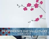 Independence Day Sale - Orchid Flower Decal - Nature Vinyl Wall Decal