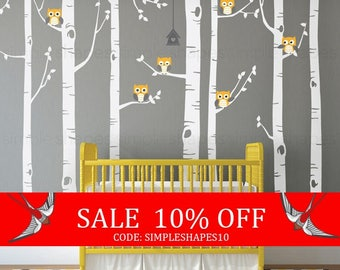 Summer Sale - Birch Tree Wall Decal, Birch Tree With Owls Wall Sticker Set, Birch Tree Decal, Baby Nursery Wall Stickers W1112