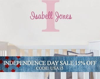 Independence Day Sale - Personalized Monogram Name Lettering Decal