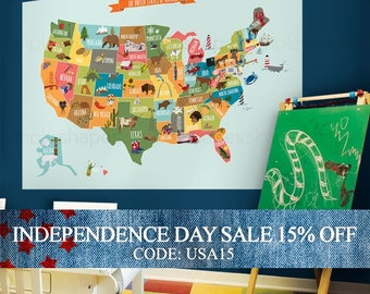 Independence Day Sale - USA Map - Peel and Stick Poster Sticker