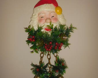 Door Hanger Santa Head with Bells