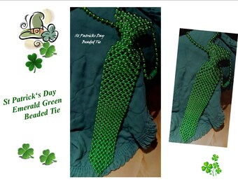Vintage Beaded Green Color Neck tie Tie/ Lovely for St Patrick Day Costume