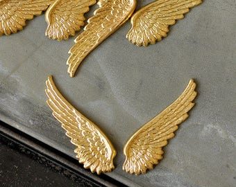 Brass  LEFT and RIGHT WING, 2 Pairs, Perfect for Enameling (BR042)