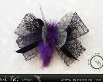 Gothic faerie black lace bow with moth faerie hair clip - lolita, cosplay, fairy, fantasy