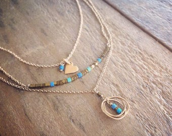 Vermeil Heart Charm Necklace on Gold Filled Chain