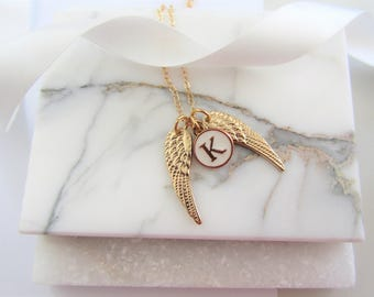Personalized Angel Wing Necklace,New Mommy Gift,Personalized Gift,Good Luck Gift,Gift for Her,Mothers Day Gift,New Baby Gift,Gold Angel Wing