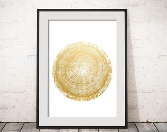 Tree Rings Slice Faux Gold Leaf  Wall Decor Wood Art Print Tree Rings Wall Art Typography Poster Home Decor Printable Instant Download