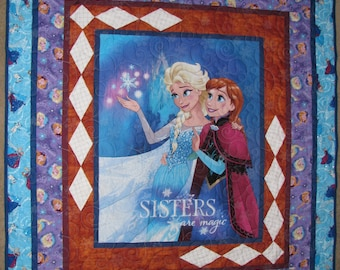 Frozen Sisters Quilted Bedspread and Pillow Case