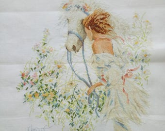 Finished Completed Cross Stitch - Woman and horse - P59k