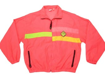 1990s Ocean Pacific Neon Surf Jacket Full Zip Hot Pink Highlighter Yellow Hipster Shell Size Medium M