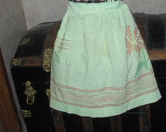 Apron hand embroidery green and white gingham apron vintage half apron