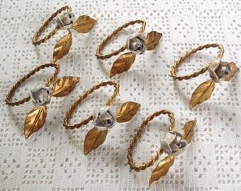 Vintage Napkin Rings Florentine Tole Gilt Metal White Roses Set of 6