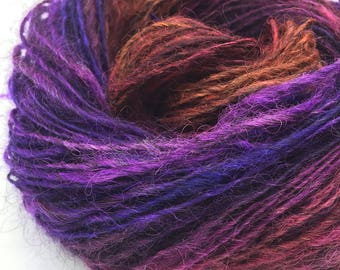 Handspun alpaca yarn, hand dyed - 100 yards, 2.1 ounces/ 59 grams