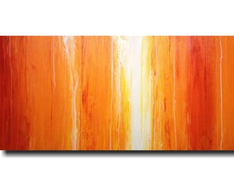 original Painting home decor Large  wall art Sale oil industrial gift abstract paintings orange by jmjartstudio 24 x 48   artwork
