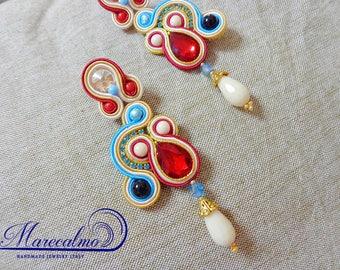 Red and blue earings, Soutache Earrings chandeliers, soutache jewellery, fiber art jewelry, boho red earrings, embroidered earrings