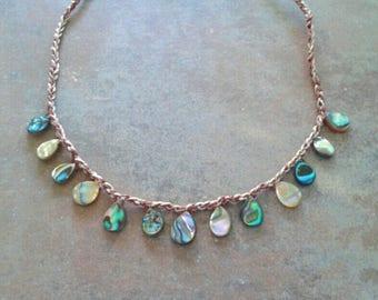 Abalone necklace, boho crochet necklace, beaded necklace, beach chic necklace, beachy crochet necklace, shell necklace
